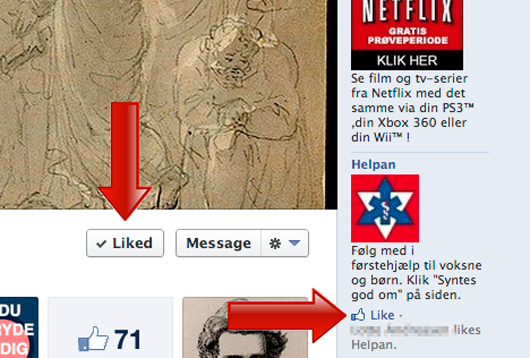 Da der ikke kan Likes på siden, så liker den falske profil på annoncen.