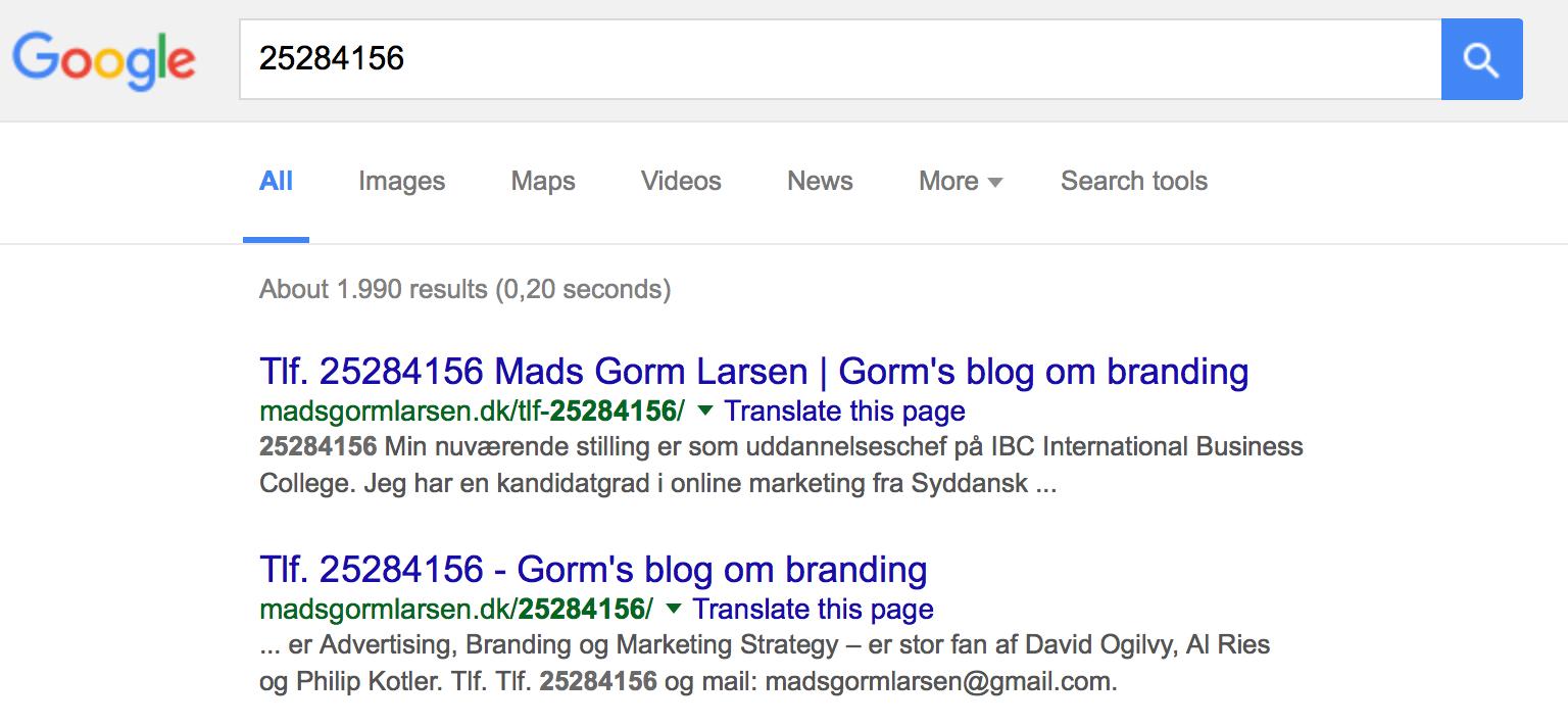 Har du googlet mit telefonnummer? - Mads Gorms blog